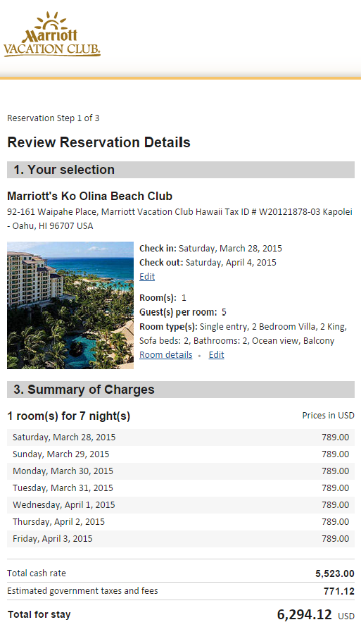 Rate on Marriott's Web Site