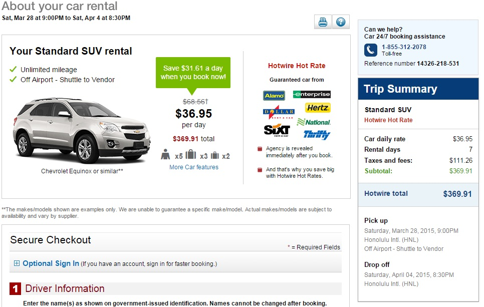 Hotwire Price Search Results
