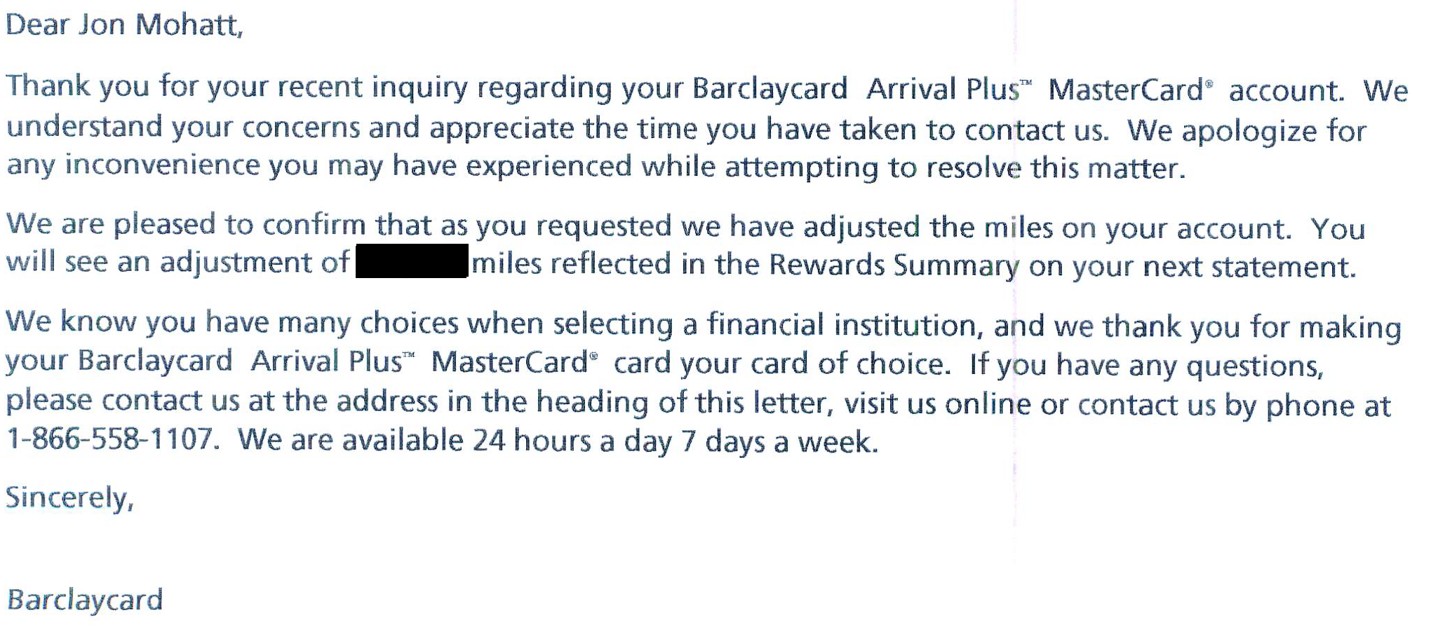 Barclays Ltr_Point Refund